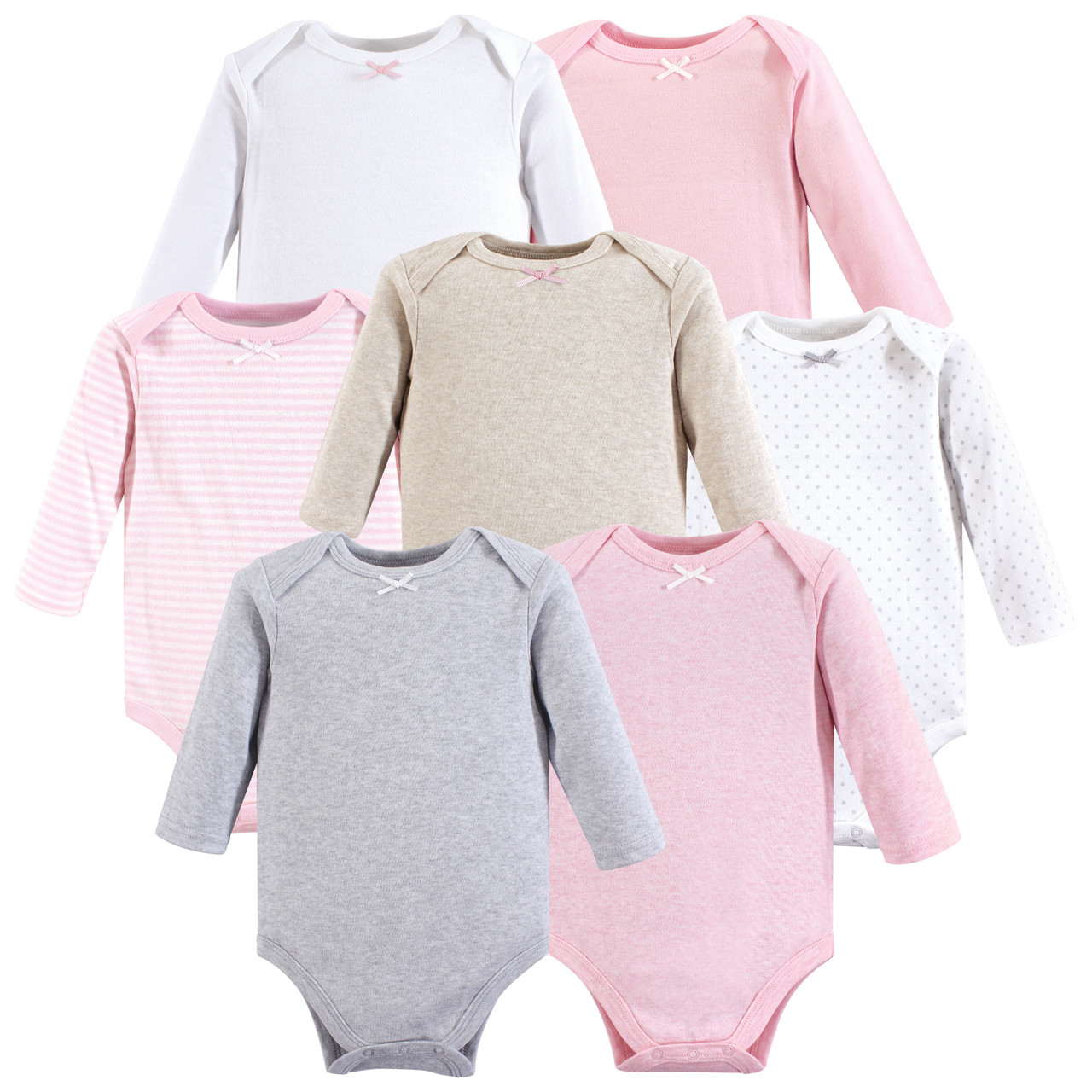 Heather Gray Hudson Baby Boy and Girl Long Sleeve Bodysuits 8-Pack