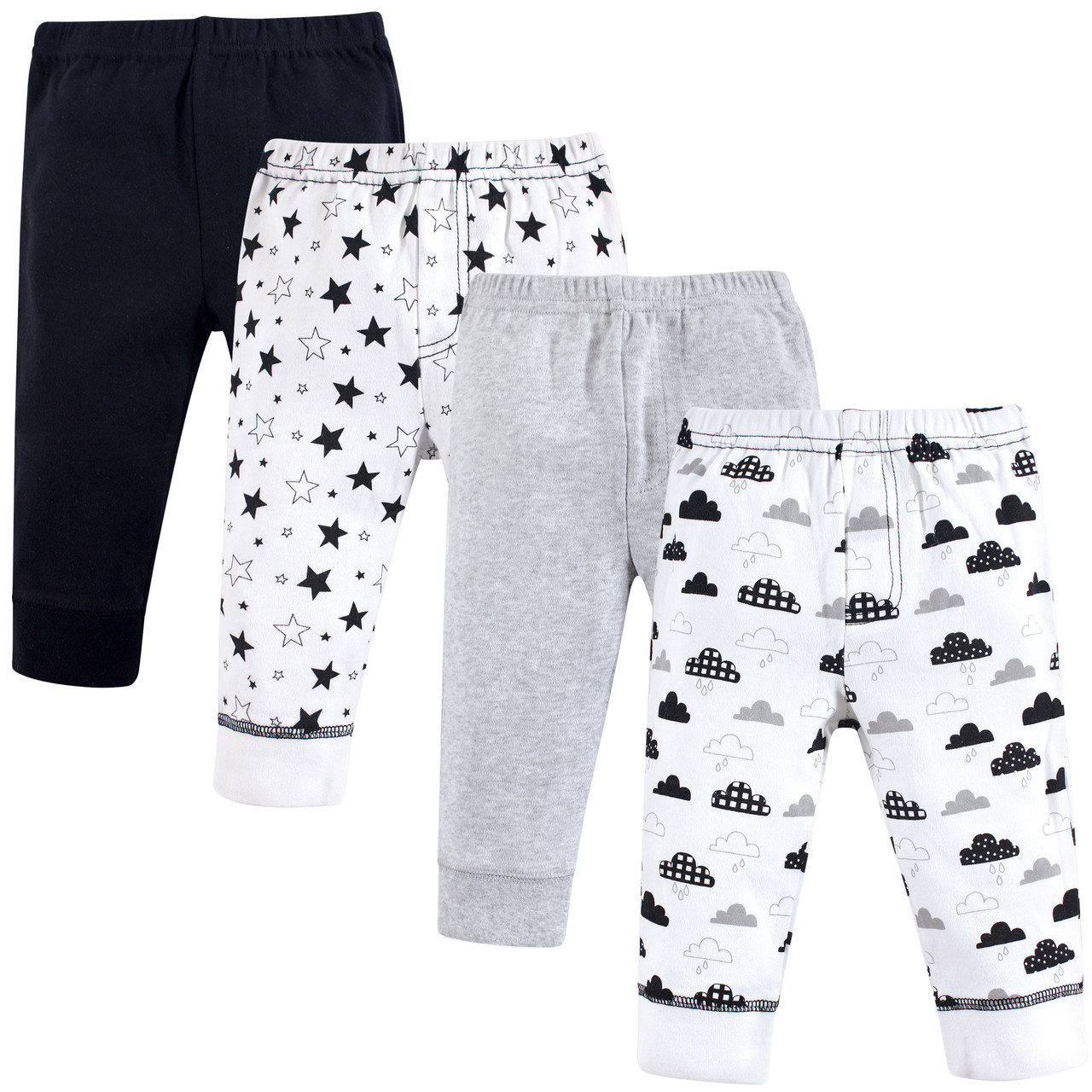 Hudson Baby Boy and Girl Cotton Tapered Ankle Pants Moon and Back 4-Pack