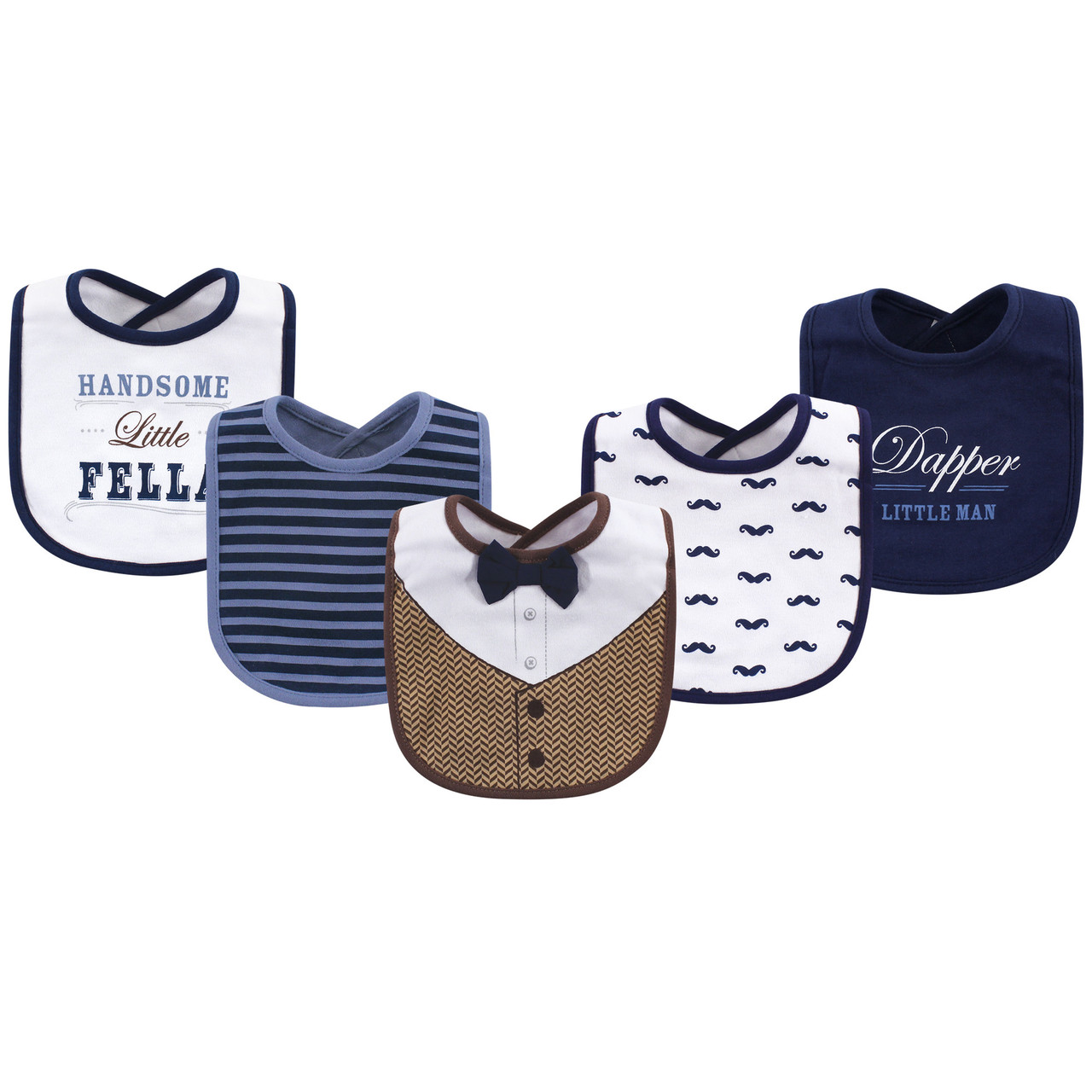 Blue Suspenders Lt Little Treasure Boy Cotton Drooler Bibs 5 Pack