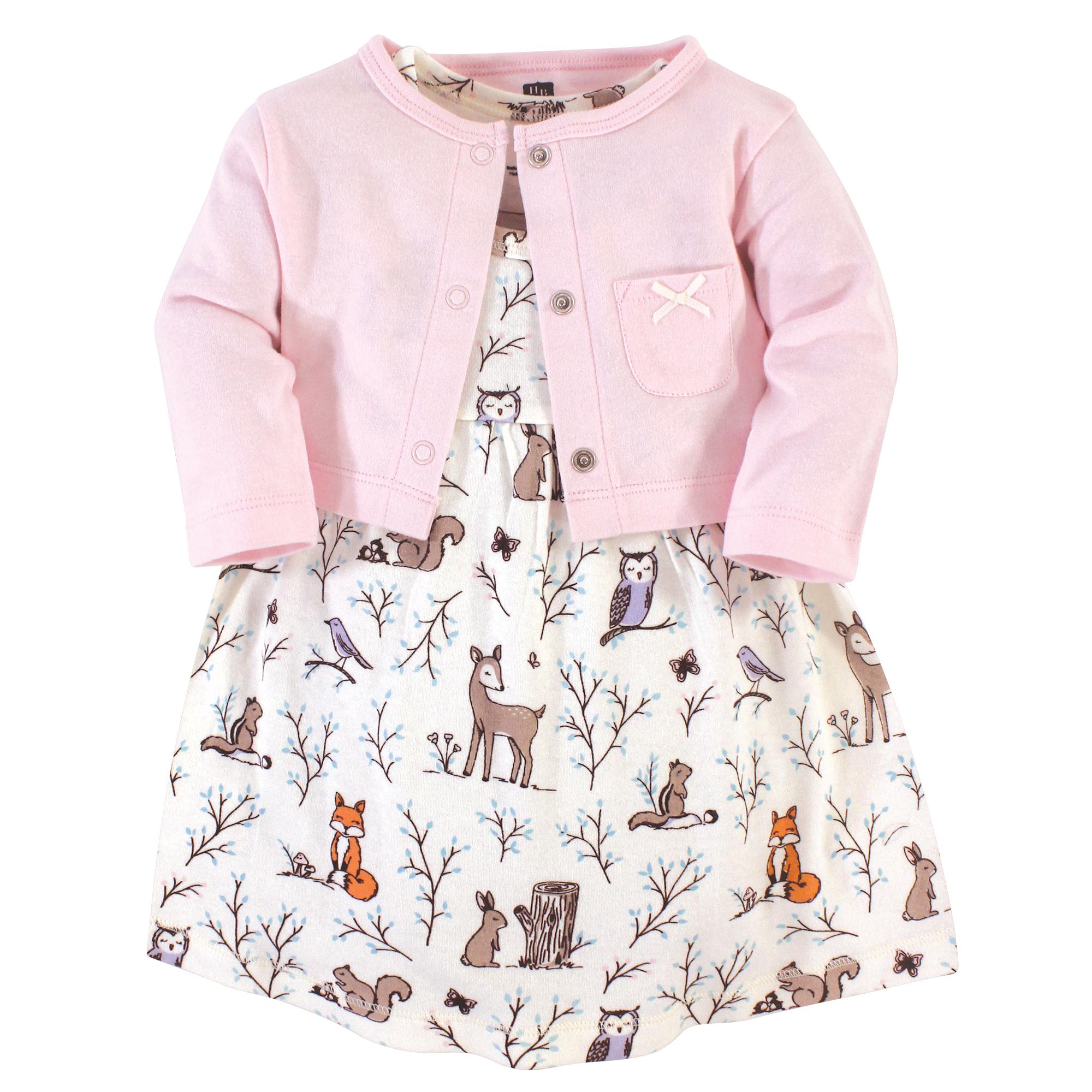 Hudson Baby Girl Long Sleeve Dress 2pk Winter Forest