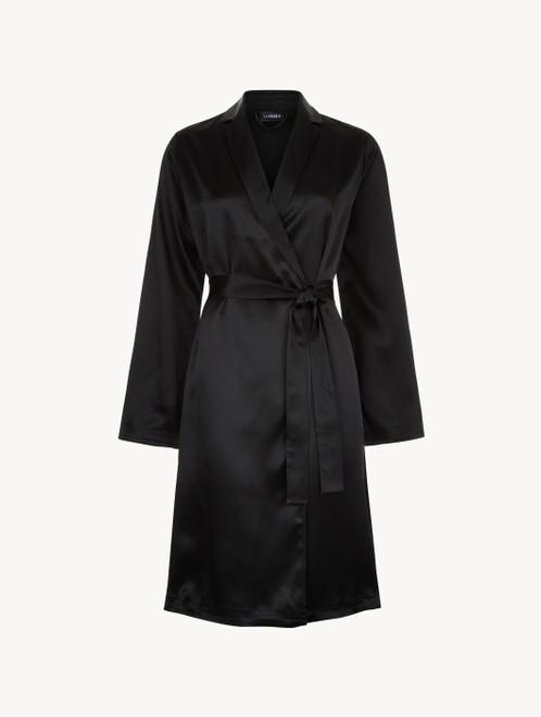 Black silk short robe