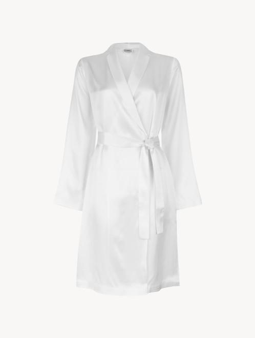White silk short robe