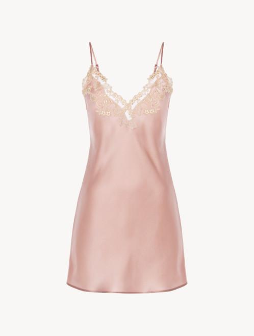 Powder pink silk satin slip with frastaglio