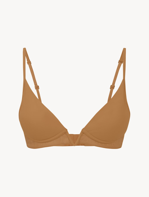 Hazel-coloured non-wired padded triangle V-bra