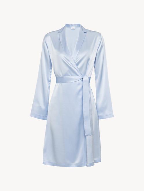 Azure silk short robe
