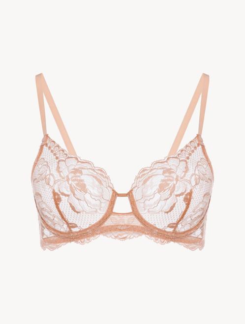 Powder pink lace underwired bra