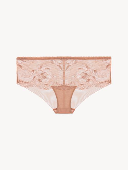 Powder pink lace boyshort brief