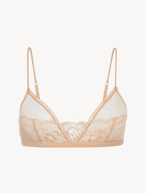 Triangle Bra in beige Lycra with Leavers lace
