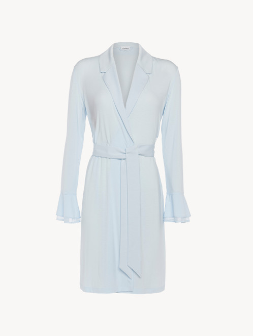Robe in blue modal stretch with Leavers lace