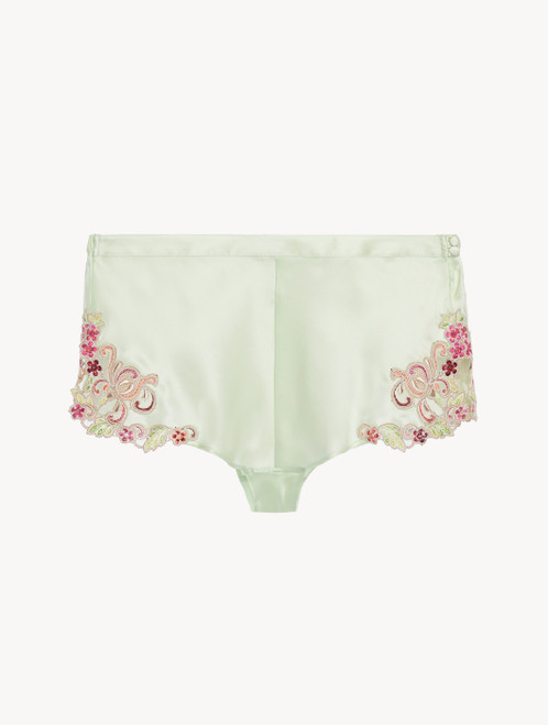 Sleep shorts in pale green silk with embroidered tulle