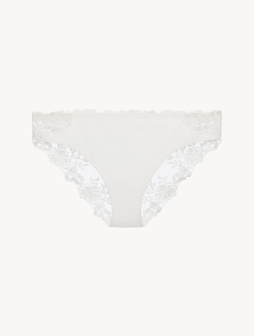 Medium Brief in off-white Lycra with embroidered tulle
