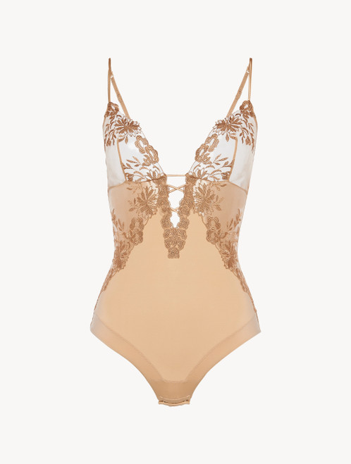 Bodysuit in beige Lycra with embroidered tulle