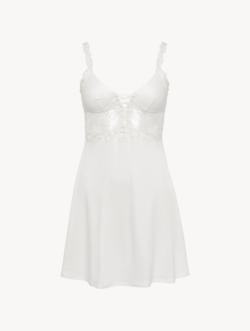 Slip Dress in off-white modal with embroidered tulle