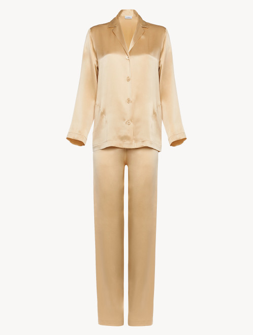 Silk pyjamas in beige