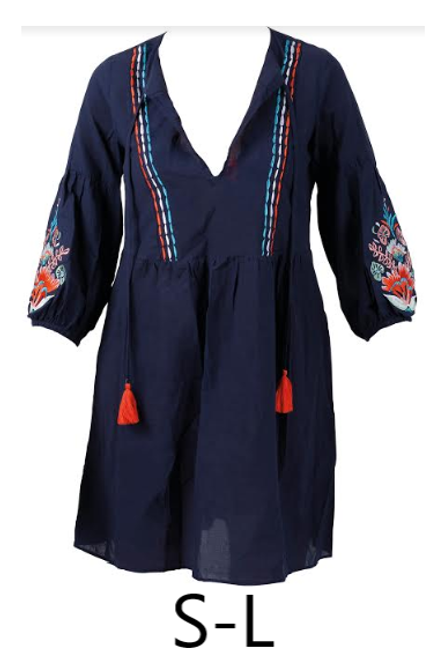 Navy blue peasant-style tunic swim cover up