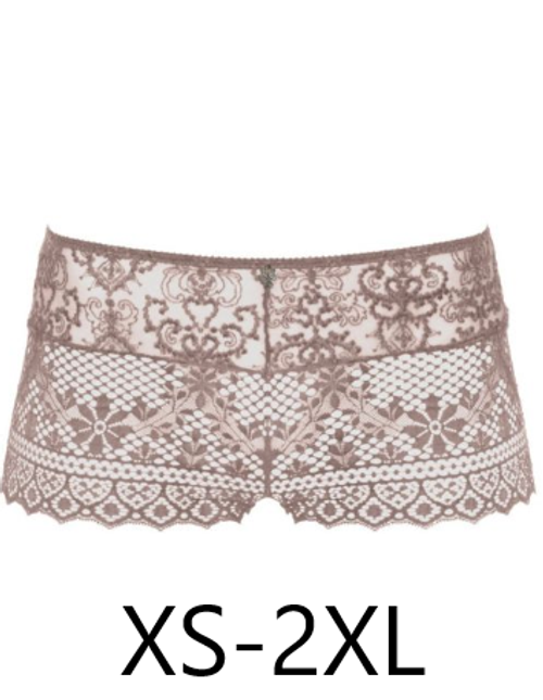 Matching boyshort style panty for the Cassiopee Collection by Empreinte in neutral gray rose sauvage color
