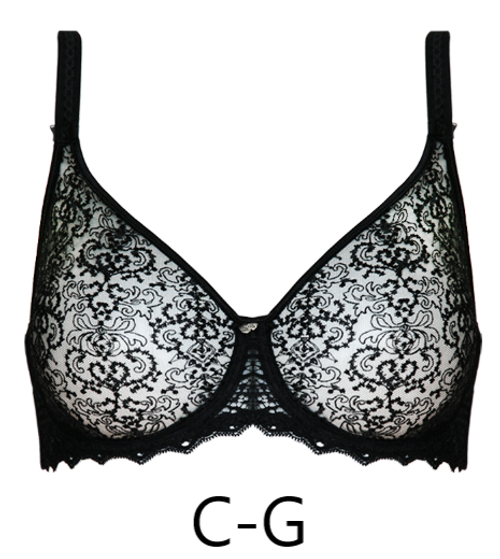 Seamless full busted embroidered French bra in black