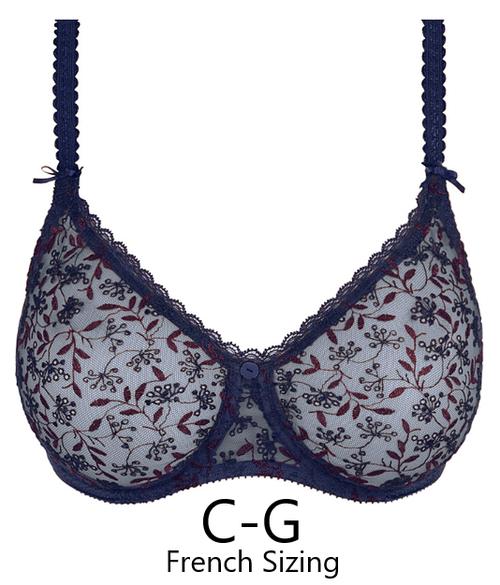 Seamless embroidered navy blue bra by Empreinte