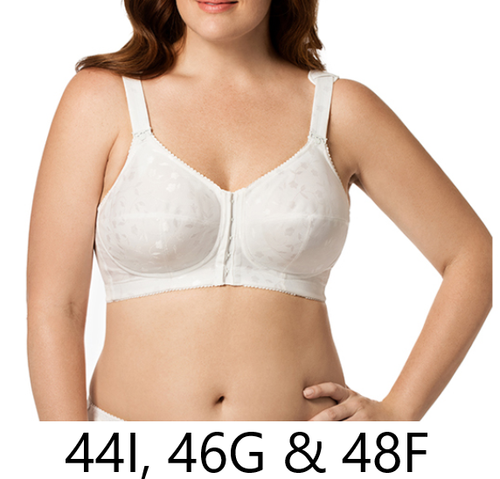 Elila 1515 Jacquard Front Hook Softcup Bra White