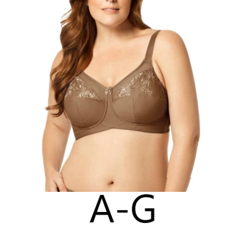 Elila 1301 Embroidered Microfiber Soft Cup Bra Mocha