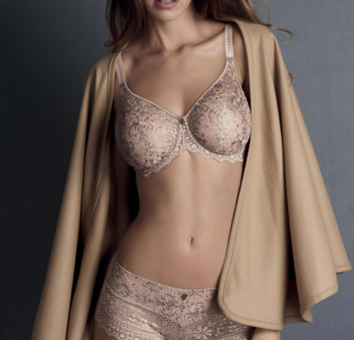 luxury, seamless embroidered French bra and panty in a neutral gray tone