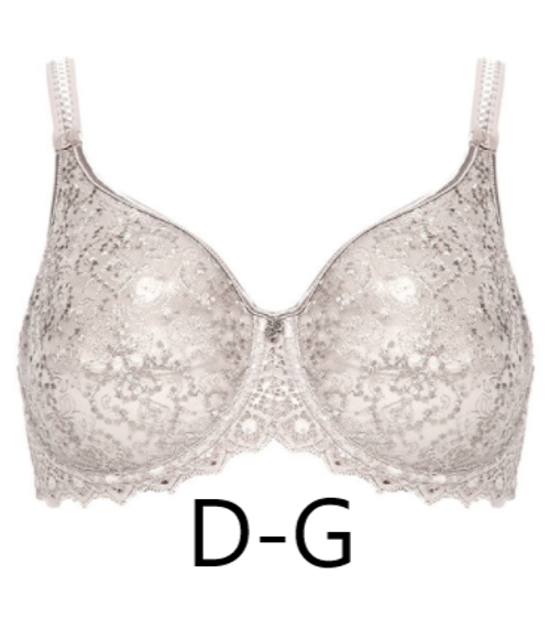 luxury, seamless embroidered French bra in a neutral gray tone