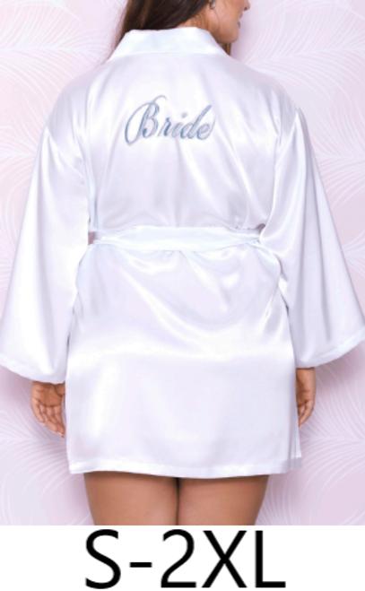 iCollection 7847X Gracie Satin Bridal Robe White