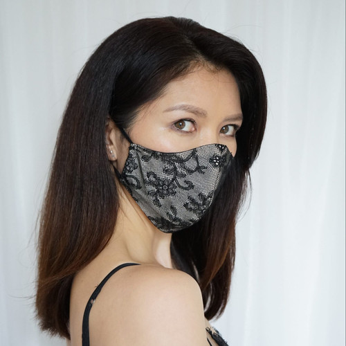 An Asian woman with mid length hair wears a black and white lace and silk mask