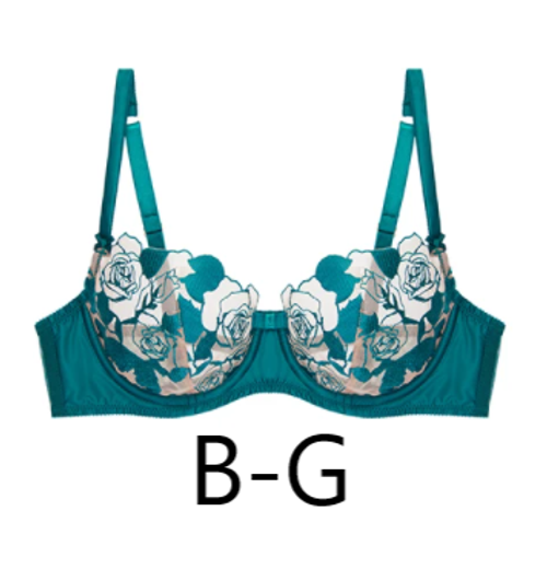 Vintage inspired underwire bra with sheer cut outs by Dita von Teese in teal color