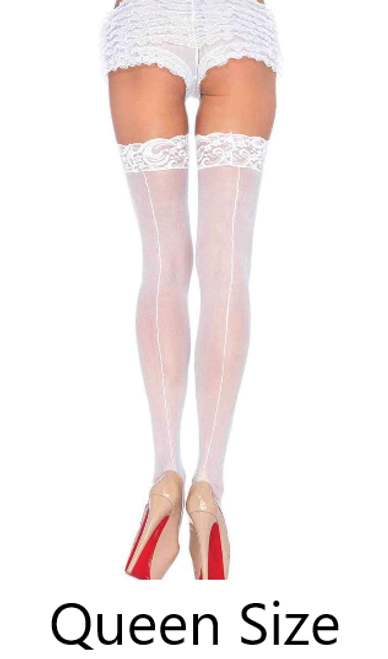 Leg Avenue 1101Q Queen Size Sheer Lace Top Stockings White