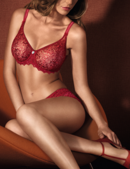 Red seamless full cup molded lace bra by luxury French brand Empreinte