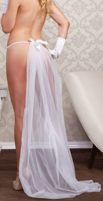 iCollection 7156 Willow G-String Veil White