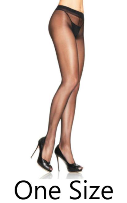 Leg Avenue 0907 Spandex Sheer to Waist Support Pantyhose Black