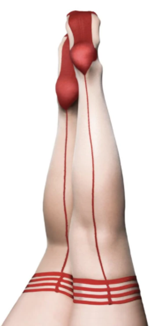 Kix'ies 1334 Whitney Back Seam Thigh Highs Beige with Red