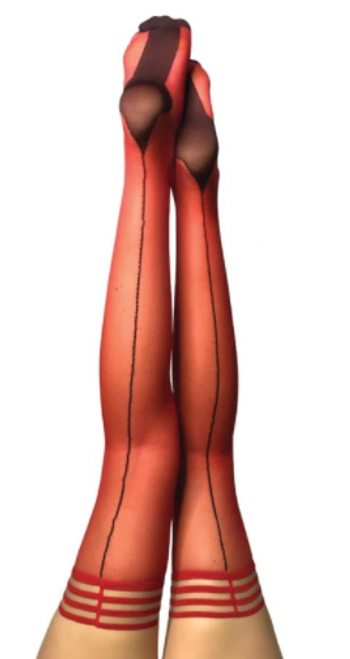 Kix'ies 1328 Monica Sheer Cuban Heel Thigh Highs Red with Black