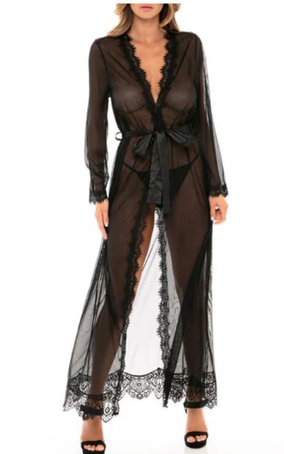 Oh La La Cheri 65-11136 Provence Eyelash Lace Floor Length Robe Black