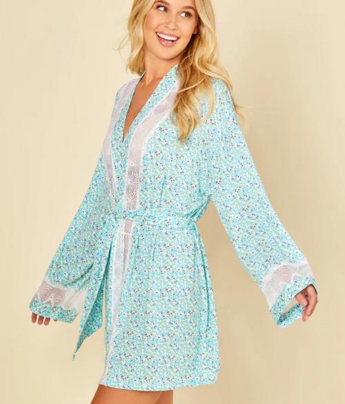 Cosabella 8091 Allure Robe Blue Venezia/White