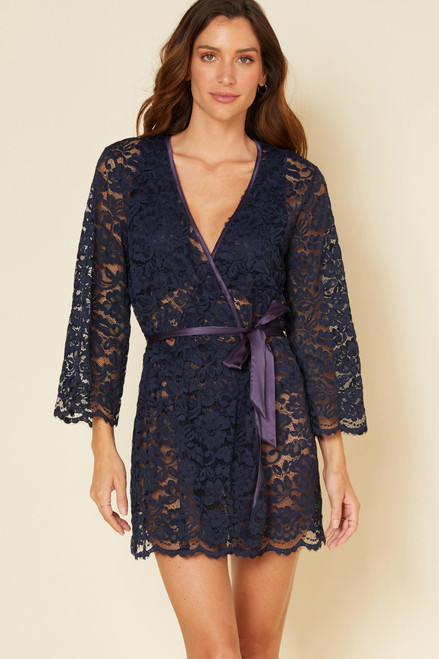 Cosabella MAGNO8091 Magnolia Robe Nocturnal Blue FINAL SALE NORMALLY $225