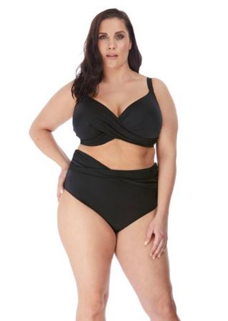 Elomi 7193 Magnetic Underwire Wrap Plunge Bikini Swim Top Black