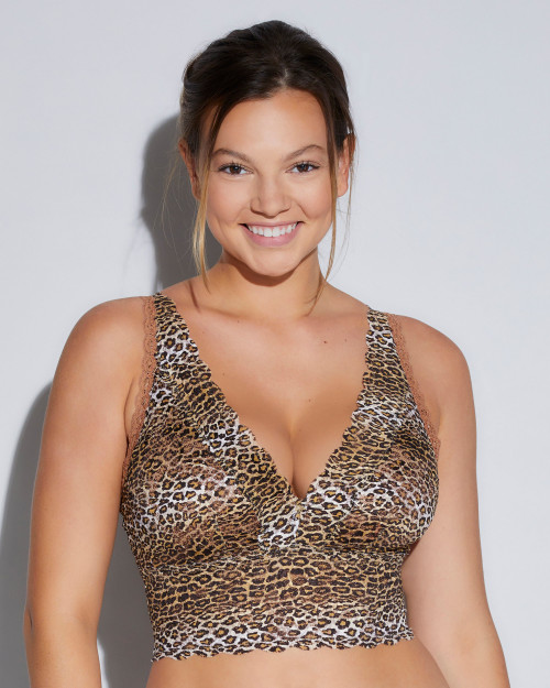 Cosabella NEVEP1385 Never Say Never Printed Curvy Plungie Longline Bralette Neutral Leopard