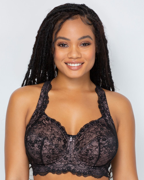 Curvy Couture 1320 Luxe Lace Wirefree Bralette Black Hue with Ballet Fever