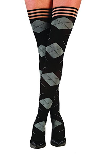 Kix'ies 1302 Kimmie Argyle Thigh Highs