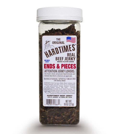 16oz jar of Hardtimes Beef Jerky Ends and Pieces