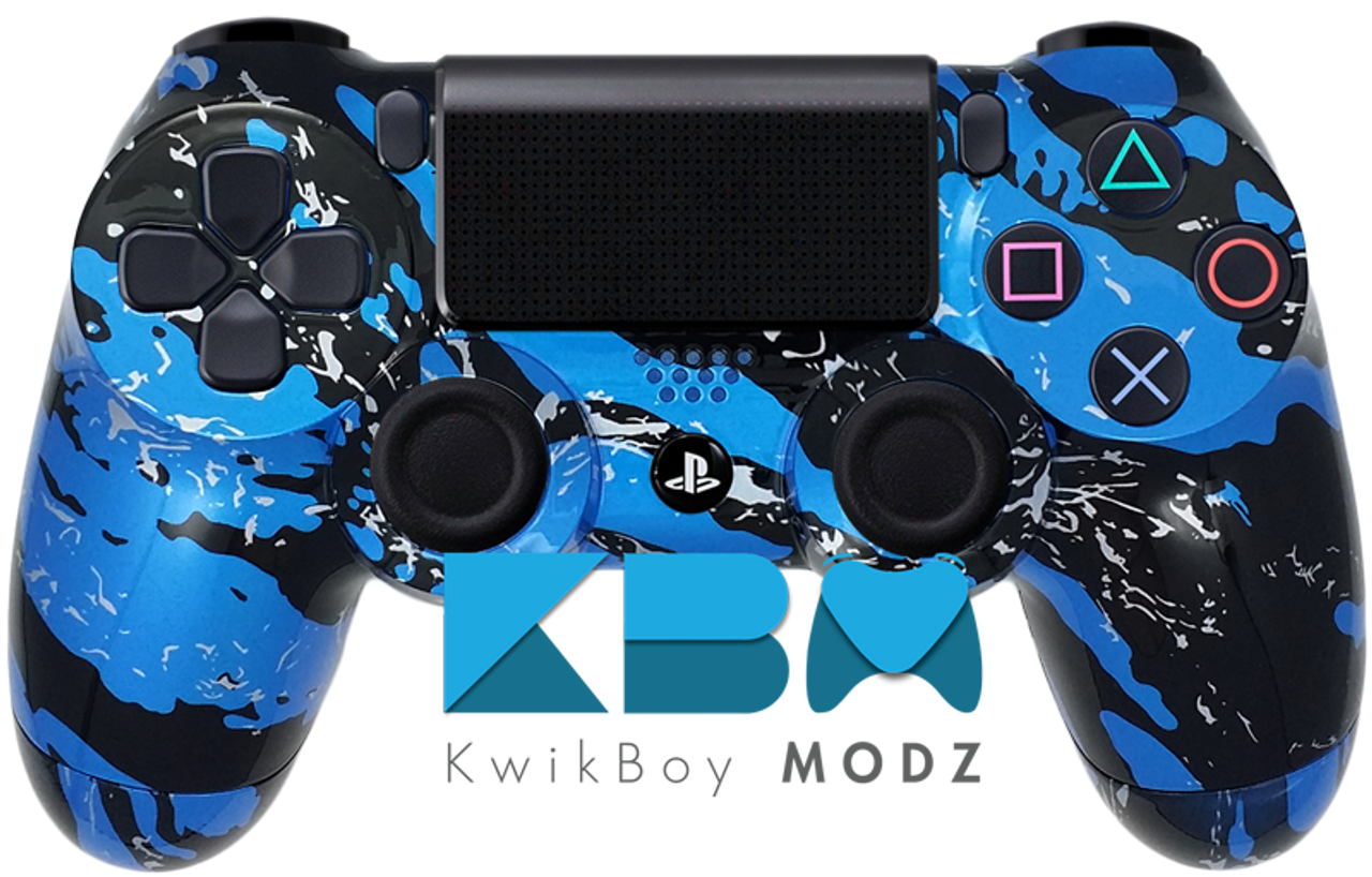 Splatter Blue Custom PS4 Controller