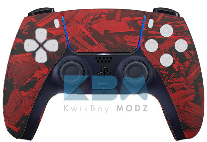 Custom Red Fracture PS5 Controller