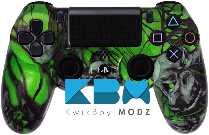 Custom Green Mr.Creepy Skulls PS4 Controller