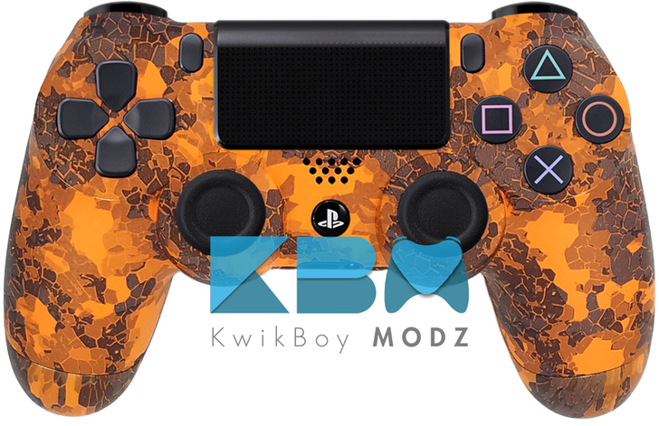 Custom Orange Defected PS4 Controller