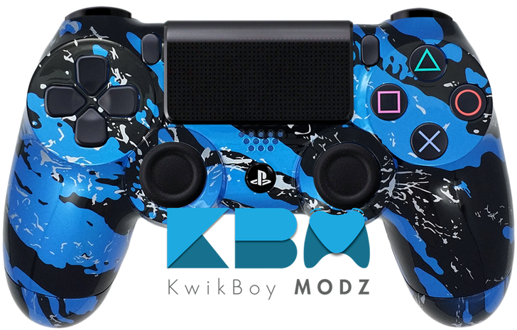 Blue Splatter Custom PS4 Controller