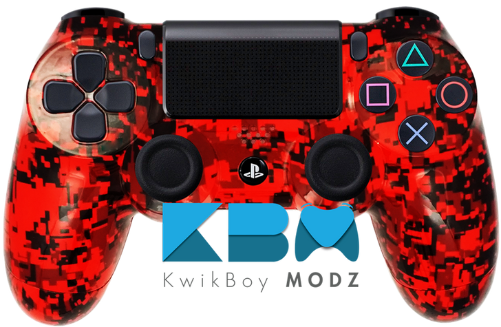 Red Digital Camo Custom PS4 Controller