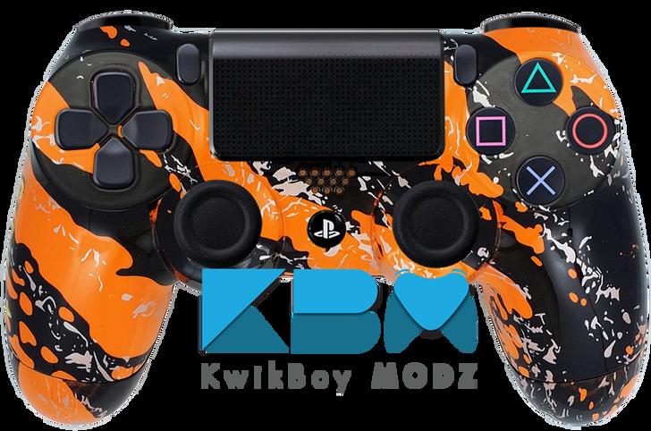 Orange Splatter Custom PS4 Controller